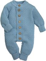 Комбинезон для младенцев Amarobaby Pure Love Wool / AB-OD20-PLW5/22-56 (голубой, р. 56) -
