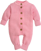 Комбинезон для младенцев Amarobaby Pure Love Wool / AB-OD20-PLW5/20-56 (розовый, р. 56) -