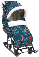 Санки-коляска Ника Детям НД7-5/3 (цветочный темный) -