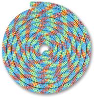 Скакалка для художественной гимнастики Indigo Люрекс SM-122 (2.5м, голубой/коралловый/лимонный/серебристый) -
