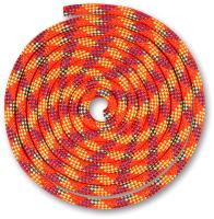 Скакалка для художественной гимнастики Indigo Люрекс SM-122 (2.5м, коралловый/фиолетовый/лимонный/золотистый) -