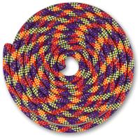 Скакалка для художественной гимнастики Indigo Люрекс SM-122 (2.5м, фиолетовый/коралловый/лимонный/серебристый) -