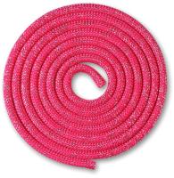 Скакалка для художественной гимнастики Indigo SM-124 (3м, фуксия/люрекс) -