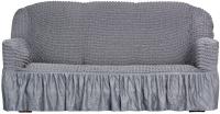 Чехол на диван - 3 местный Софатэкс Стандарт ПО-1 с оборкой (серый) -