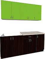 Готовая кухня Хоум Лайн Агата 1.8 (венге/зеленая мамба) -