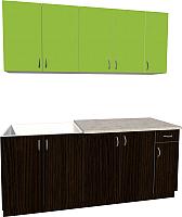 Готовая кухня Хоум Лайн Агата 1.9 (венге/зеленая мамба) -