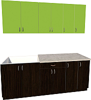 Готовая кухня Хоум Лайн Агата 2.1 (венге/зеленая мамба) -