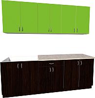 Готовая кухня Хоум Лайн Агата 2.2 (венге/зеленая мамба) -