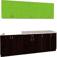 Готовая кухня Хоум Лайн Агата 2.3 (венге/зеленая мамба) -