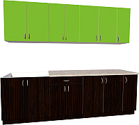 Готовая кухня Хоум Лайн Агата 2.5 (венге/зеленая мамба) -