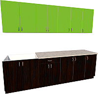 Готовая кухня Хоум Лайн Агата 2.6 (венге/зеленая мамба) -