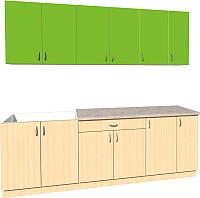 Готовая кухня Хоум Лайн Агата 2.3 (дуб молочный/зеленая мамба) -