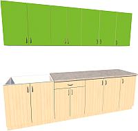 Готовая кухня Хоум Лайн Агата 2.6 (дуб молочный/зеленая мамба) -