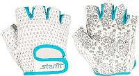 Перчатки для пауэрлифтинга Starfit SU-110 (M, белый/голубой) -