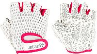Перчатки для пауэрлифтинга Starfit SU-110 (M, белый/розовый) -