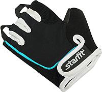 Перчатки для пауэрлифтинга Starfit SU-111 (M, черный/белый/голубой) -