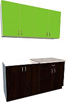 Готовая кухня Хоум Лайн Агата 1.6 (венге/зеленая мамба) -