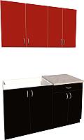 Готовая кухня Хоум Лайн Агата 1.4 (черный/красный) -