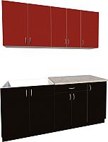 Готовая кухня Хоум Лайн Агата 1.8 (черный/красный) -