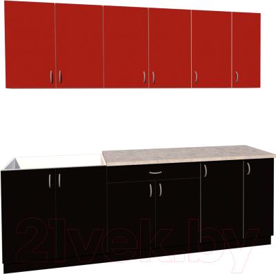 Готовая кухня Хоум Лайн Агата 2.3 (черный/красный)