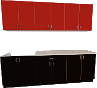 Готовая кухня Хоум Лайн Агата 2.4 (черный/красный) -