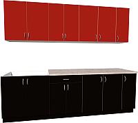 Готовая кухня Хоум Лайн Агата 2.5 (черный/красный) -
