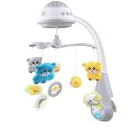 Мобиль на кроватку Baby Mix Медвежата с проектором / 35728 (серый) -