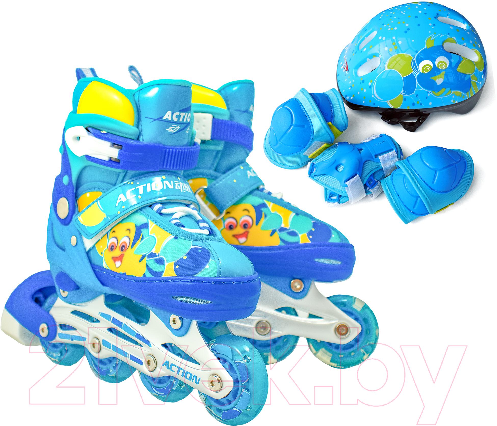 Купить Роликовые коньки Action, 155B (S, синий/желтый), Китай