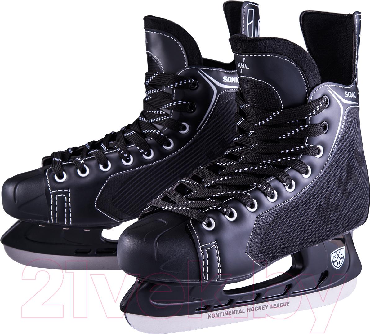Купить Коньки хоккейные KHL, Sonic (р-р 42), Китай, черный, пластик