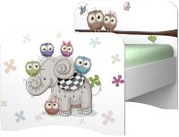 Односпальная кровать детская Премиум Смарти (белый/совята) -