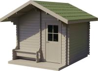 Хозблок деревянный Лесково ХБ-2 3.0x4.0 (серый/зеленый) -