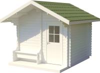 Хозблок деревянный Лесково ХБ-2 3.0x4.0 (белый/зеленый) -