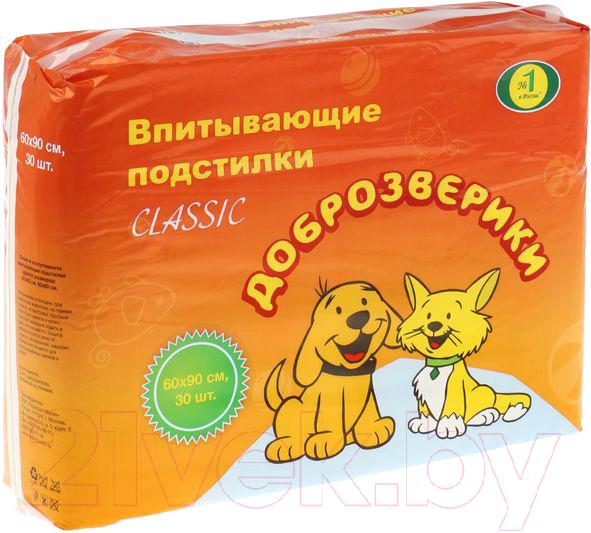 Купить Одноразовая пеленка для собак Доброзверики, 60x90 (30шт), Россия