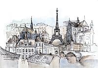 Фотообои листовые Citydecor Акварельный Париж (200x140) -