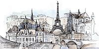 Фотообои листовые Citydecor Акварельный Париж (300x150) -