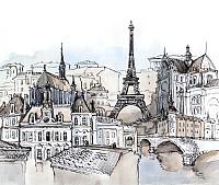 Фотообои листовые Citydecor Акварельный Париж (300x254) -
