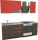 Готовая кухня Иволанд Трейд Ярко-красная 150-220-60 (красный/темное дерево) -