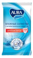 Влажные салфетки Aura Antibacterial (15шт) -