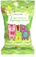 Влажные салфетки детские Delicare Коты Анибактериальные с ароматом бодрящей колы (15шт) -