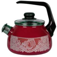Чайник со свистком СтальЭмаль Вологодский сувенир 4с209я (вишневый) -