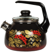 Чайник со свистком СтальЭмаль Рябина 4с210я (черный/красный) -