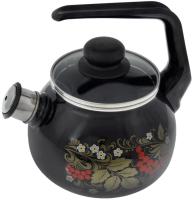 Чайник со свистком СтальЭмаль Рябина 4с209я (черный) -