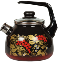 Чайник со свистком СтальЭмаль Рябина 4с209я (черный/красный) -