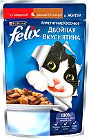 Корм для кошек Felix Двойная вкуснятина с говядиной и домашней птицей в желе (85г) -