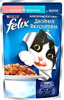 Корм для кошек Felix Двойная вкуснятина с лососем и форелью в желе (85г) -
