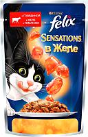 Корм для кошек Felix Sensations в желе с говядиной и томатом (85г) -