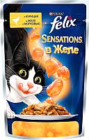 Корм для кошек Felix Sensations в желе с курицей и морковью (85г) -