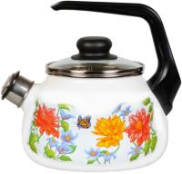 Чайник со свистком СтальЭмаль Цветочный 4с210я -