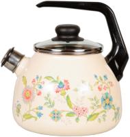 Чайник со свистком СтальЭмаль Луговые цветы 4с209я -