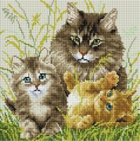 Набор алмазной вышивки PaintBoy Кошачья семья / DF401 -